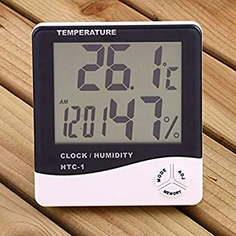 MCP Digital Room Thermometer With Humidity Indicator And Alarm Clock, Wall  Mount Or Table Top