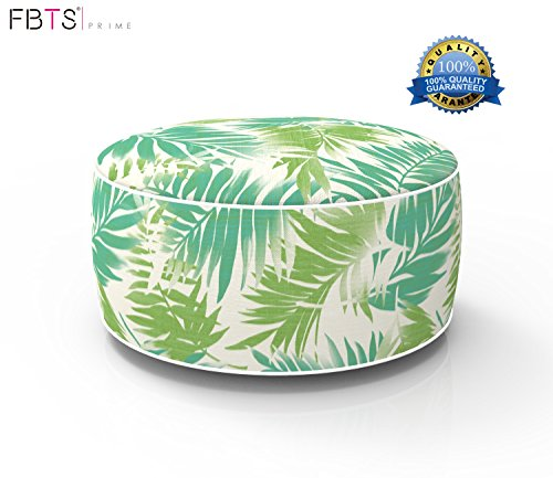 FBTS Prime Outdoor Inflatable Ottoman Light Green Leaf Round Patio Foot Stools and Ottomans Suitable for Kids and Adults Portable Travel Footstool Used for Outdoor Camping Home Yoga Foot Rest by FBTS Prime
