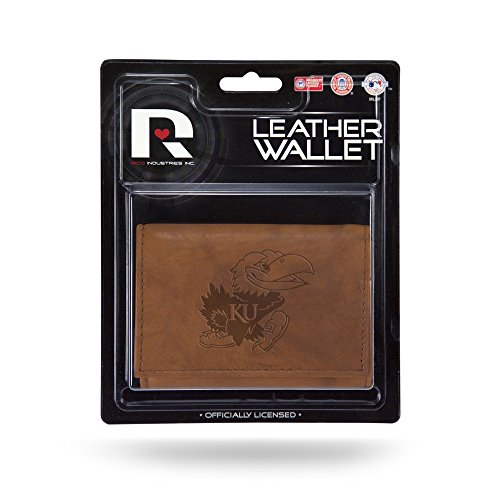Rico Industries NCAA Kansas Jayhawks Leather Trifold Wallet with Man Made Interior ()