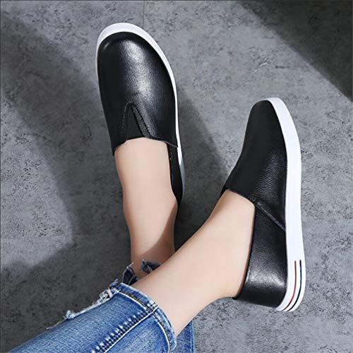 Antidérapantes On Chaussures aller Marche De Casual Slip Confortables Femmes Vachette Mesdames Split Flats Mocassins Tout Noir Cuir ExPxRwq4U