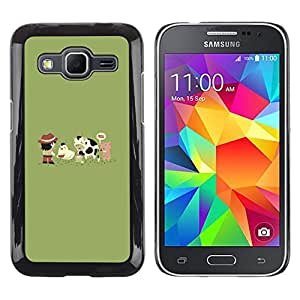 // PHONE CASE GIFT // Duro Estuche protector PC Cáscara Plástico Carcasa Funda Hard Protective Case for Samsung Galaxy Core Prime / Funny Cute Farm Animals /