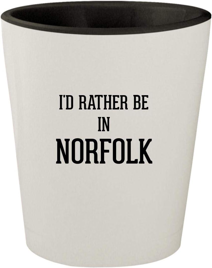 I'd Rather Be In NORFOLK - White Outer & Black Inner Ceramic 1.5oz Shot Glass