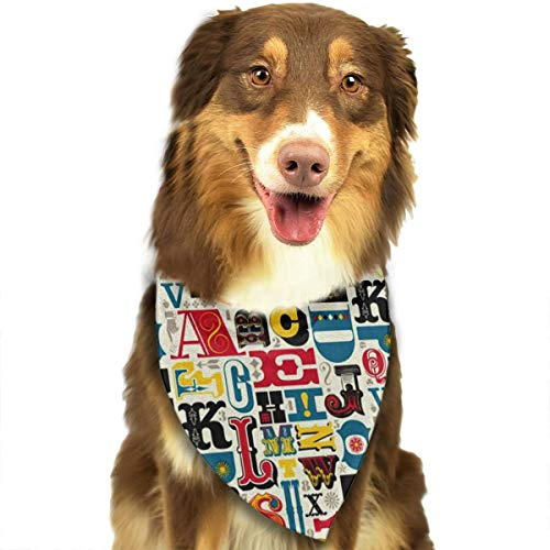 FRTSFLEE Dog Bandana Funny Latin Alphabet Scarves Accessories Decoration for Pet Cats and -