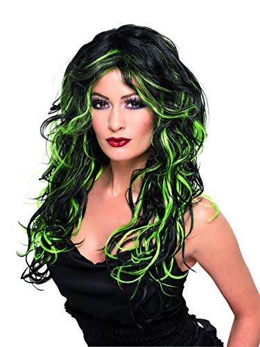 Smiffys Women's Long Green and Black Streaked Wig with Waves, One Size, Gothic Bride Wig,5020570358276 ()