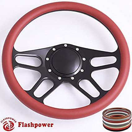 Black Flashpower 14 Billet Half Wrap 9 Bolts Steering Wheel with Horn Button