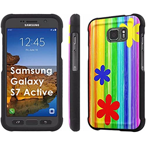 AT&T [Galaxy S7 Active] [5.1 Screen] Armor Case [NakedShield] [Black] Total Armor Protection [Shell Snap] + [Screen Protector] Phone Case - [Flower Rainbow] for Sales