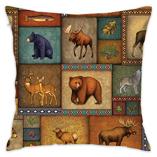 (Throw Pillow Covers, Cushion Covers, Throw Pillow case, Rustic Wildlife Bear Deer Moose Wolf Home Decorative Throw Pillow Cases Cushion Pillowcase Cover 18 X 18 Inches for Living Room Bedroom Car)