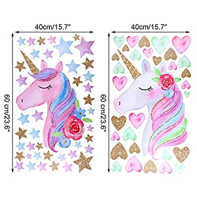 2 Pieces Unicorn Wall Decals Decor Colorful Unicorn Wall Stickers with Heart Flower for Kids Bedroom, Nursery Room, Living Room Decor