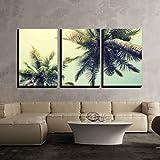 wall26 - Palm Tree on Tropical Beach - Canvas Art Wall Decor - 24'x36'x3 Panels