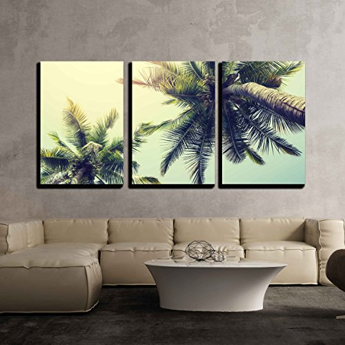 Vintage Nature Background of Coconut Palm Tree on Tropical Beach Blue Sky x3 Panels
