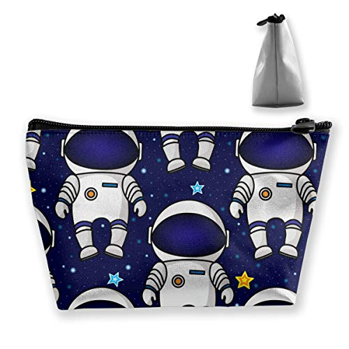 - Astronauts And Stars Pattern Makeup Bag Travel Cosmetic Bag Trapezoidal Zipper Storage Bags