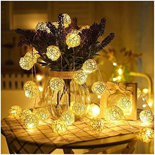 16.5ft 30 White Rattan Ball String Lights,Battery Operated,30 Warm White Led Wedding Indoor Decoration Fairy Lights with Timer 8 Mode Idear for Bedroom Showcase Vanity Mirror Window Swing Sun Umbrella