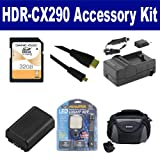 Sony HDR-CX290 Camcorder Accessory Kit includes: SDNPFV50NEW Battery, SDM-109 Charger, SD32GB Memory Card, SDC-26 Case, HDMI6FMC AV & HDMI Cable, LED-70 On-Camera Lighting