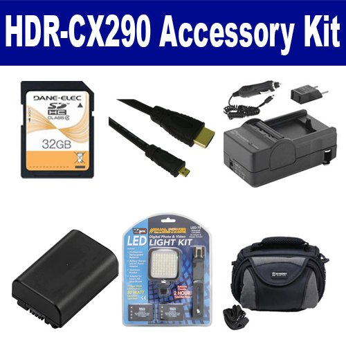 Sony HDR-CX290 Camcorder Accessory Kit includes: SDNPFV50NEW Battery, SDM-109 Charger, SD32GB Memory Card, SDC-26 Case, HDMI6FMC AV & HDMI Cable, LED-70 On-Camera Lighting by Synergy Digital