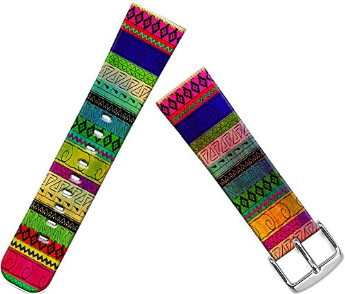 Band Compatible with Iwatch 44mm/42mm & Cisland Leather Strap Compatible with Apple Watch Series 1/2/3/4 Sport & Edition Beautiful Colorful Aztec Design