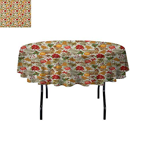 DouglasHill Christmas Washable Tablecloth Vivid Colorful Xmas Theme Pine Cones Branches Gingerbread Man Berry Image Print Dinner Picnic Home Decor D47 Inch Multicolor