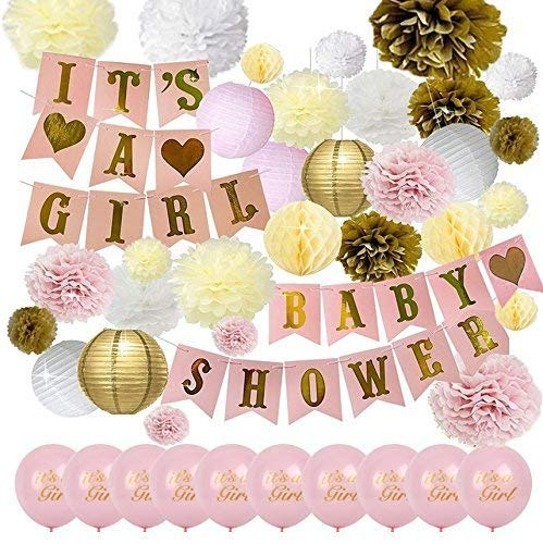 42PCS | Baby Shower Decorations Party | Gender Reveal Set for Girl | Balloons, Banner, Lanterns, Honeycomb Balls & Tissue Paper pom poms