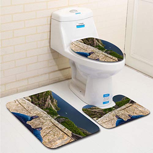 (MTSJTliangwan 3-Piece Bathroom Set, Bathroom Rug + Contour pad + lid Toilet seat, July 20 2015 at The Edge of The Pulpit Rock Norway Comfortable Flannel Rug)