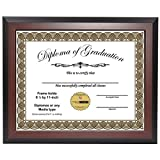 CreativePF [8.5x11mh] Mahogany Diploma Frame, Holds 8.5 by 11-inch Graduation Documents w/Stand and Wall Hanger