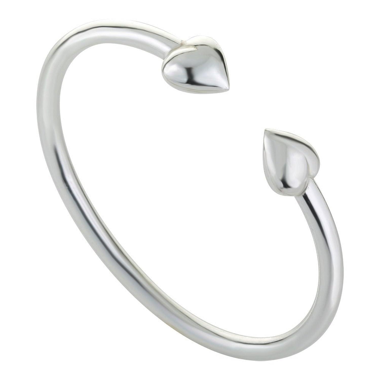 925 Sterling Silver Bracelet Adjustable Cuff 2 Hearts Silver Bracelet