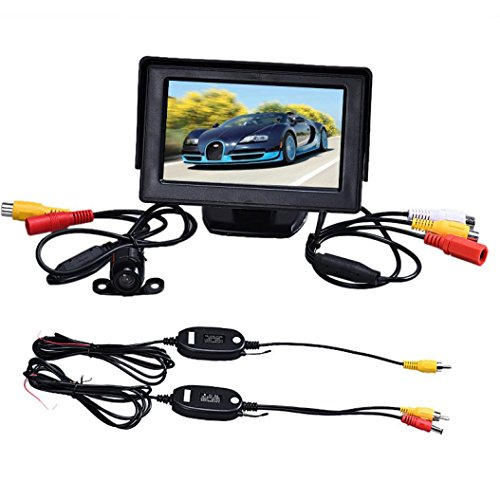 Misaky 4.3 Inch TFT LCD Monitor + Car Reverse Rearview Back Up Camera Parking Wireless Kits