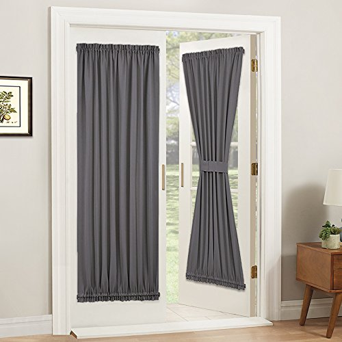 PONY DANCE Gray Door Curtain - Thermal Insulated Rod Pocke Blackout Privacy French Door Panel for Patio Sliding Window with Bonus Tieback, 54 inch Wide by 72 inch Long, Grey, 1 Pc