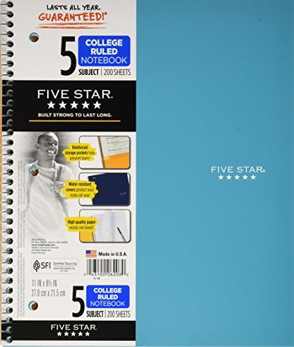 Mead Five Star Spiral Notebook, 5 Subject, 8.5