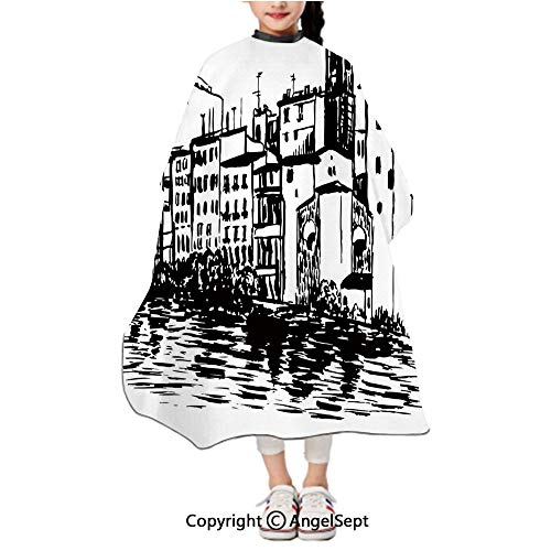 Waterproof Kids Haircut Salon Cape,Venice City Sketch Style Hand Drawn Historical Buildings Tourist Town Picture Black White,47.2x39.4 inches,Styling Capes Cloth For Children