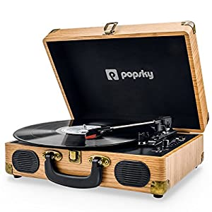 Popsky Record Player, Vintage Turntable 3-Speed Bluetooth Record Player Suitcase with Speaker, Portable LP Vinyl Player, Vinyl to MP3 Recording, AUX USB RCA Headphone Jack