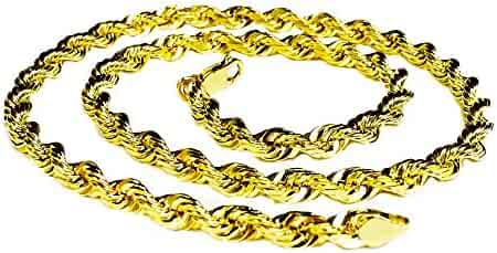 18KT Solid Yellow Gold Diamond Cut Rope Chain Necklace 32