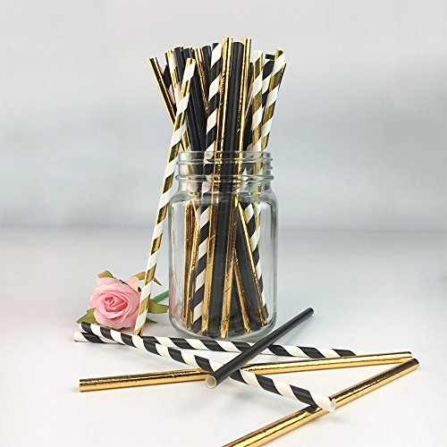 Biodegradable Stripe Straws Gold and Black Paper Drinking Straws for Party 100 Pcs 7.75 Inches for Adult and Kids by Youmewell ()