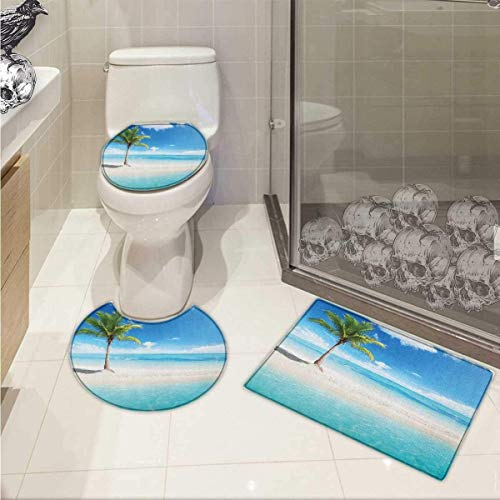 Ocean Bath Rug Set Idyllic Scenery Seashore Picture Sun Rays View with Palm Tree Tropical Beach Non-Slip Soft Absorbent Bath Rug Aqua White Green -