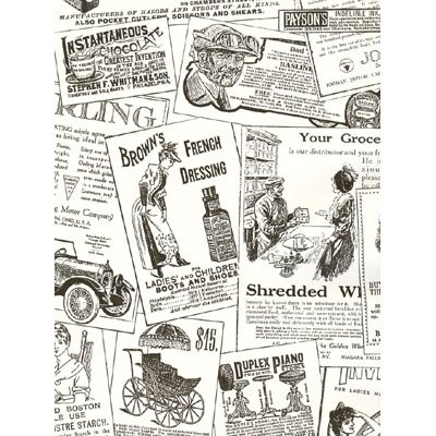 Antique Newsprint in Black and White - BK32083 by Norwall