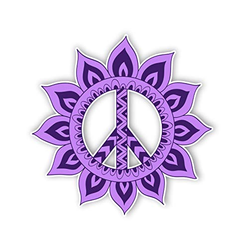 (Purple Flower Peace Sign Sticker Car Motorcycle Bicycle Skateboard Laptop Luggage Decals Bumper Stickers Waterproof)