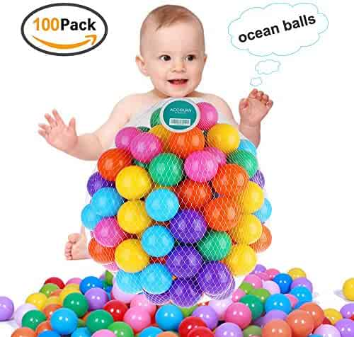 Accguan 100pcs Colorful Ball Fun Ball Soft Plastic Ocean Ball Baby Kid Toy Swim Pit Toy