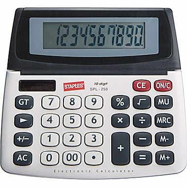 (Staples SPL-250 10-Digit Large Display Calculator - Solar Powered with Battery Backup and Auto-Off)