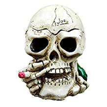 Aishankra Creative Painted Skeleton Skull Ashtray Modern Smokers Portable Cigarette Ash Tray Gift Indoor Or Outdoor Use Home Office Decoration,B