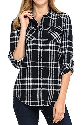 Plaid Flannel Womens (ClothingAve. Women's Long Sleeve Flannel Plaid Shirt (Large, Black/White))