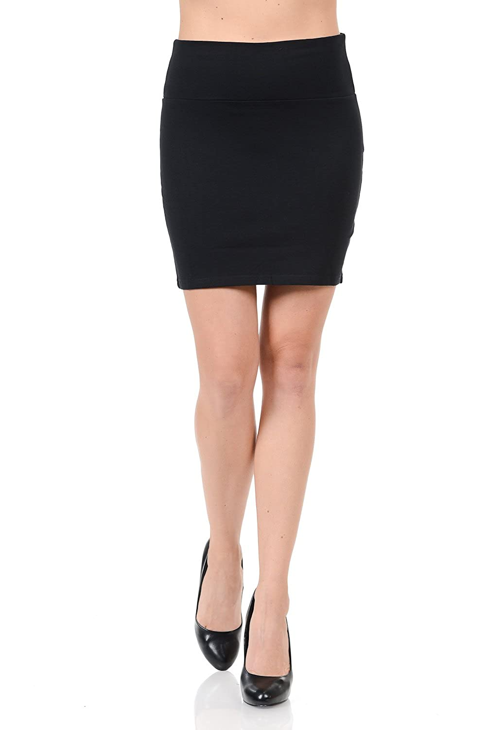 a74551b7a341 Maryclan Women's Solid High Waist Stretch Cotton Span Mini Skirt (One Size,  Black) at Amazon Women's Clothing store: