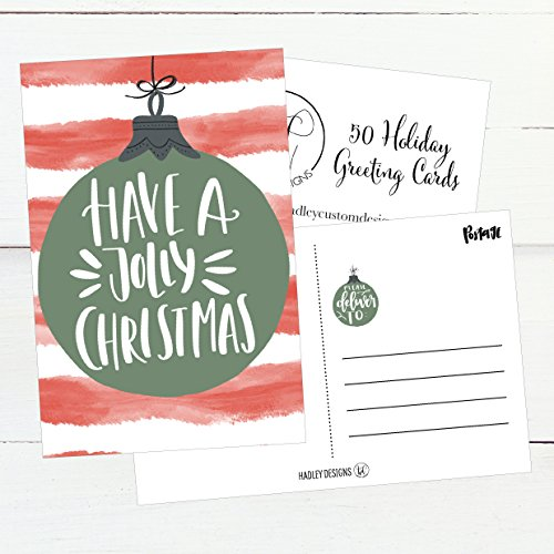 50 Red & Green Holiday Greeting Cards, Cute Fancy Blank Winter Christmas Postcard Set, Bulk Pack of Premium Seasons Greetings Note, Happy New Years for Kids, Business Office or Church Thank You Notes Photo #6