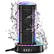 #LightningDeal ESHLDTY RGB Power Strip Tower, Surge Protector with 1 USB C Port 3 USB Ports 9 AC Outlets, 2000J 1875W 6ft Extension Cord, Waterproof Charging Station for Gaming Party Home Office