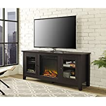 Walker Edison Furniture Wood TV Stand with Fireplace, 58-Inch, Espresso
