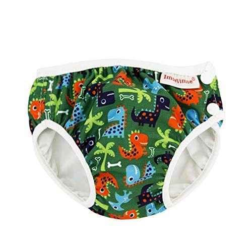 (ImseVimse Eco Friendly Reusable Swim Diaper Made of Organic Cloth Sized for Infant to Toddler Boys (Green Dino, SL 3-4T (28-37 lbs)))