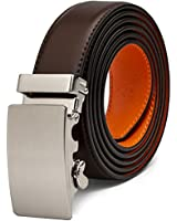 AOG DESIGN Two-Tone Leather Ratchet Belt Solid Buckle - Magnetic Edition (Brown Orange)
