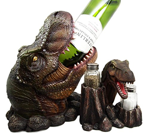 (Atlantic Collectibles Prehistoric Dinosaur T-Rex Head Wine Bottle and Salt Pepper Shakers Holder Figurine Set)