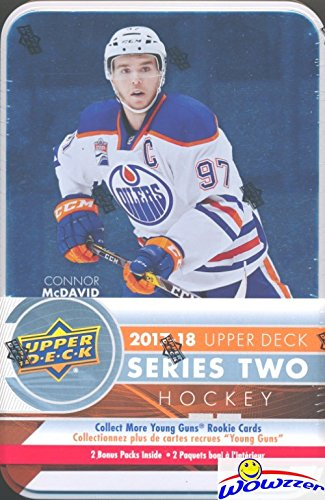 2017/18 Upper Deck Series 2 NHL Hockey Factory Sealed EXCLUSIVE Collectors TIN with 12 Packs & Special Jumbo Card! Includes 3 Young Guns ROOKIES,2 Canvas Inserts,2 OPC RC & 2 Portrait ROOKIES! WOWZZER