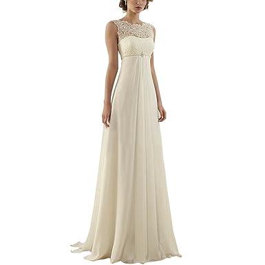 ABaowedding Women\'s Sleeveless Lace up Long Bridal Gown Wedding ...