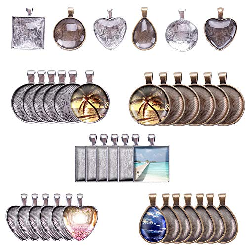 (WXLAA 48 Pieces Pendant Trays 4 Style Vintage Pendant Trays Set for DIY Wedding Party Gifts Jewelry Necklace Pendants Decoration)