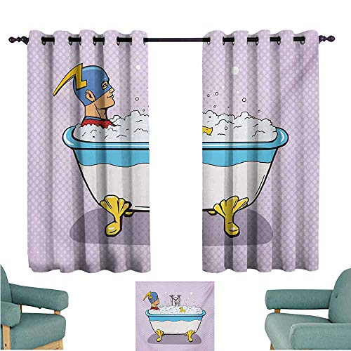 DONEECKL Printed Curtain Comics Superhero Fast Furious Relaxing in Bubble Bath Shower with Rubber Duck Art Print Thermal Insulated Tie Up Curtain W55 xL39 Multicolor -