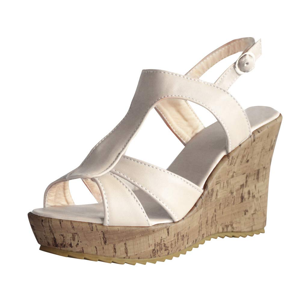 LUCAMORE Women's Wedges Sandals Summer High Platform Open Toe Ankle Buckle Shoes